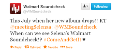 selgomez-news:  Walmart Soundcheck just confirmed via Twitter that Selena's album will drop this July and that she also recorded a Soundcheck with them.