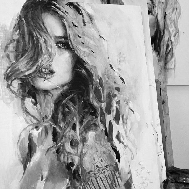senyahearts:  Oil Painting of Rosie Huntington-Whitley by Artist Charmaine Olivia