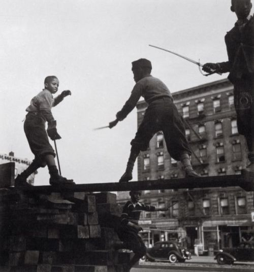 "braindeadpaintbrush:  Aaron Siskind, ""Young boys sword fighting in Harlem,"" 1938."