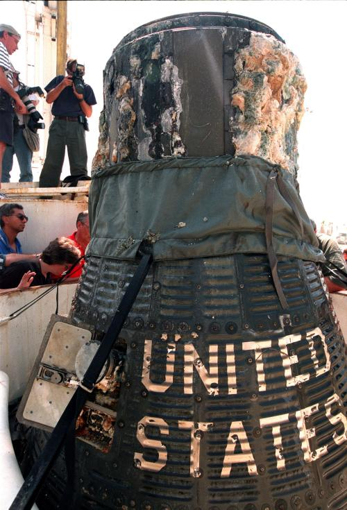 "A close-up of the recently recovered [1999 - ed] Liberty Bell 7 Project Mercury capsule from the ocean floor shows the lettering ""United States"" still clearly visible on its side."