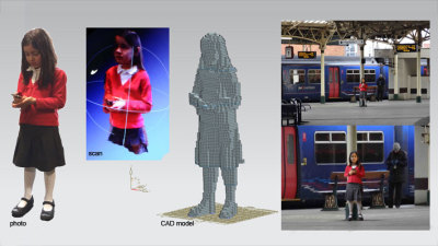 """A young girl can be seen standing alone on the train station platform. Who's she with? Is she travelling alone? Engrossed in her own world, she is still and focuses on the phone she carries. As a concerned member of the public approaches, her form appears to digitize and fragment into cubes.""  Voxelate is three-dimensional pixelated portrait that can be read from a distance - but as the viewer gets closer the object appears to fragment into cubes. Commissioned by the Watershed it is being created for installation at the Bristol Temple Quarter. (via Tom)"