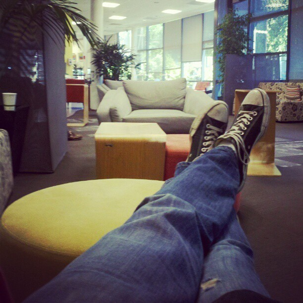 #hammockchair view. Google has it's perks.  (at Googleplex - Slice Cafe)