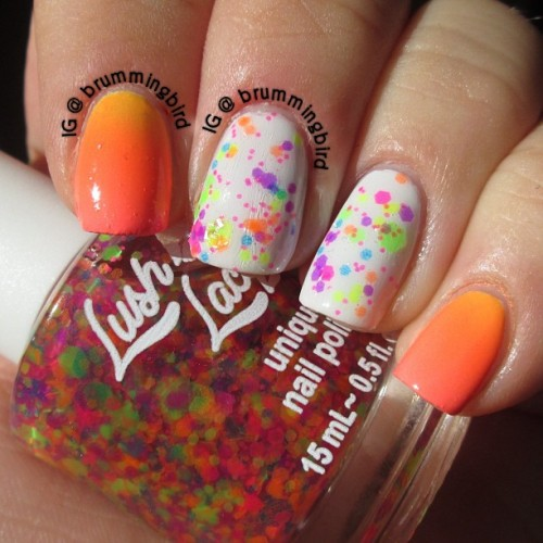 truthteller:  Gradient and @lushlacquer Clowning Around over white on the middles!