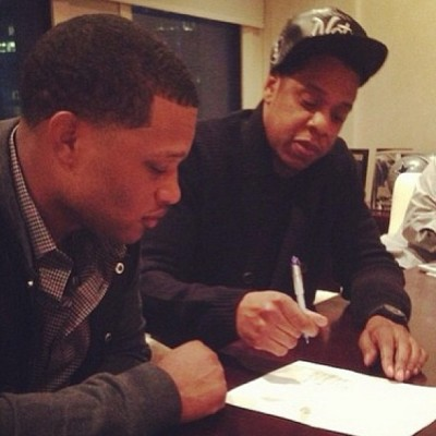 alexuh:  Jigga what? Jigga who? #beautifulthing #yankees #cano #hov #mlb #baseball #firstsigning #sports #rocnation #takinover #love #faves #nyy