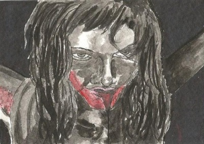 Pollyanna McIntosh from The Woman Card 2.5x3.5, Ink & Water Colour