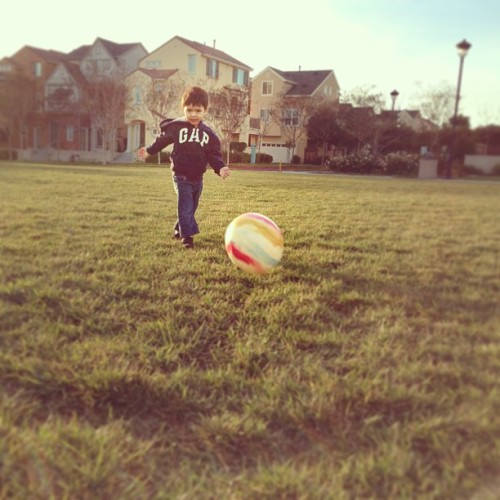 Soccer at the park.