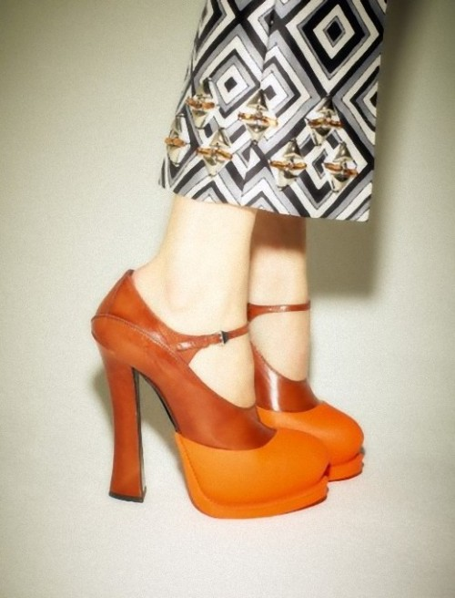 thewakeupcall:  Shoes and pants from Prada Fall/Winter 2012 photographed by Ezra Petronio for Self Service #37.