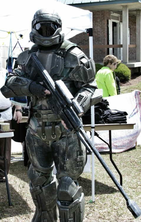 So, I ran into this guy last weekend that was wearing some badass ODST armor from the Halo series. I asked him how long it took to make that because I have no understanding whatsoever of cosplay and the response was a full year to do the armor and six weeks to make the sniper rifle…that's some serious dedication.