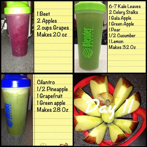 "keegetfit:  Day 11 of my 30 day juice fast. Here are some more recipes that I like. Today I felt tired of juicing and wanted to end the fast. I've decided to keep going until at least day 15 then I'll decide. I don't feel hungry for food but when I see ppl eating or see food then I'm suddenly ""hungry"". I've learned so much about my eating habits & self control -or lack there of- the pass 11 days. Despite all that I'm Still going strong ✊#30dayjuicefast #juicefast #juicing #juicing101 #juicer #juiceuary #juiceitup #juicingforhealth #fatsickandnearlydead #juice #crazyjuicer #weightloss #vegan #vegetarian #rawfood"
