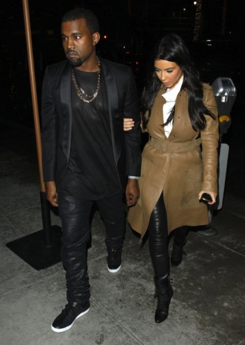 Kanye West and Kim Kardashian were spotted leaving Spago Restaurant in Beverly Hills