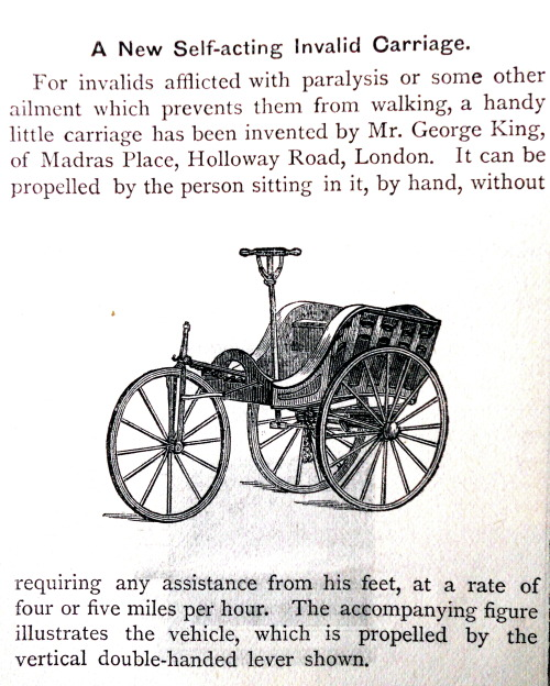 treselegant:  'A New Self-acting Invalid Carriage.' Cassell's Magazine, 1880.