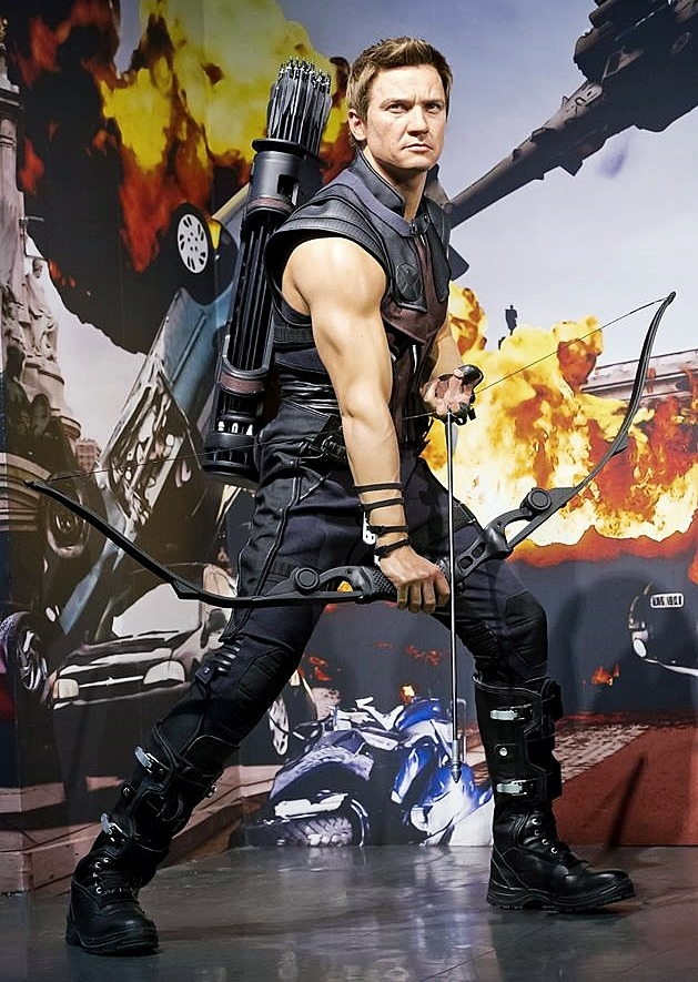 "loki-stole-my-cookies:  Hawkeye (Jeremy Renner) joins the Marvel Super Heroes experience at Madame Tussauds, London.  Not sure on the likeness but DAMN!!!!  those arms !!!  (might have to go and see this in person.  For costume research of course"""" hee hee.).  (photo not mine.  Credit to owner)"