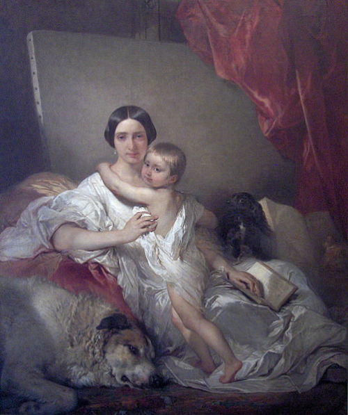 Louis Gallait - Portrait of Mrs. Louis Gallait and her daughter - 1848