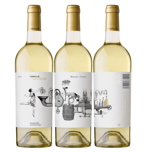 wine label designs by Enric Aguilera Asociados for Toerlló's Malvarel·lo (via dieline)