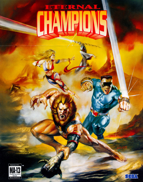 A poster for Eternal Champions (1993) on Sega Genesis.