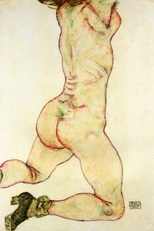 german-expressionists:  Egon Schiele, Kneeling Female Nude, Back View, 1915