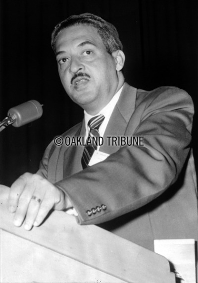 BLACK HISTORY MONTH Oakland, CA May 22, 1955 - Thurgood Marshall, as an attorney for the National Association for the Advancement of Colored People, speaks at the Oakland Auditorium on the one year anniversary of desegregation in public schools. In 1967 Marshall became the first African-American justice on the United States Supreme Court.  (Photo by Mose L. Cohen / Oakland Tribune Staff Archives)