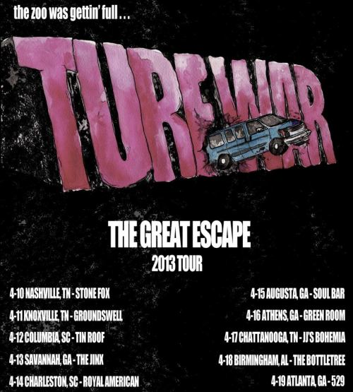 "TURF WAR SPRING TOUR Part 1: we are gonna be rolling around the South East for 10 days in April starting this week, it's gonna be like Smokey & The Bandit but with guitars and a van and no Trans Am. come party with us. dates 4/10 Nashville, TN @ Stone Fox4/11 Knoxville, TN @ Groundswell4/12 Columbia, SC @ TIn Roof4/13 Savannah, GA @ The Jinx4/14 Charleston, SC @ Royal American4/15 Augusta, GA @ Soul Bar4/16 Athens, GA @ Green Room4/17 Chattanooga, TN @ JJ's Bohemia4/18 Birmingham, AL @ The Bottletree 4/19 Atlanta, GA @ 529 we are also giving away a new single ""Born To Run Free"" for download exclusively through Converse and other songs off our new EP The Great Escape will be available for free download soon. tweet at us @TurfWarUSA for free tickets and shit. follow our facebook for more info."