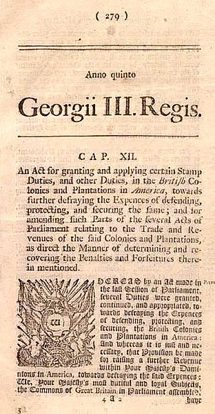 "March 22, 1765: British Parliament Passes the Stamp Act On this day in 1765, the British Parliament passed the Stamp Act as a means to pay for British troops on the American frontier and Britain's debts after the French and Indian War. Colonists violently protested the measure. The law touched off a decade-long dispute over British authority in America.Explore the timeline of the American Revolution, then test your knowledge with Liberty's ""The Road to Revolution"" game and see if you can navigate your way to independence. Every correct answer gets you closer to liberty!Images: Newspaper Posting of Stamp Act (Library of Congress) & Proof Sheet of 1d Stamp Duties for Newspapers, 1765 (Library of Congress/The British Library)."
