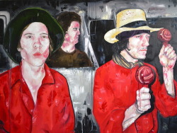 "On the Road - an homage to boys Oil on canvas 36"" X 40"" Jessica Baldanza 2012"