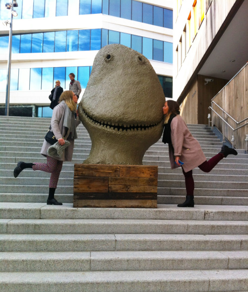Madeline and Karoline making out with monsters outside of the Astrup Fearnley Museum in Oslo.