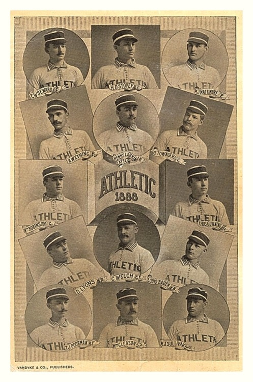"1888 Philadelphia Athletics TeamFrom the old days of the American Association, this team played from 1882-1890 and shouldn't be confused with the American League Athletics team that Connie Mack helped to form in 1901. Also note a very young future HOF'er, 24 year old Wilbert 'Uncle Robbie' Robinson (to the left of ""Athletic 1888"")."