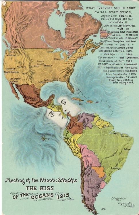 atlasobscura:  The Kiss of the Oceans  -  1915