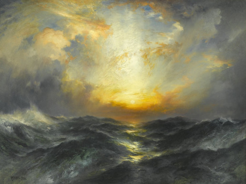 ckck:  Sunset at Sea by Thomas Moran, 1906.