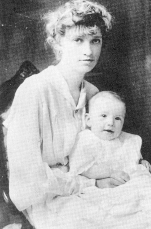 Little Greg with mother Bernice.
