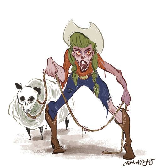 A zombie cowgirl and her sidekick zombie sheep, because sometimes it gets lonely on the post apocalyptic range…
