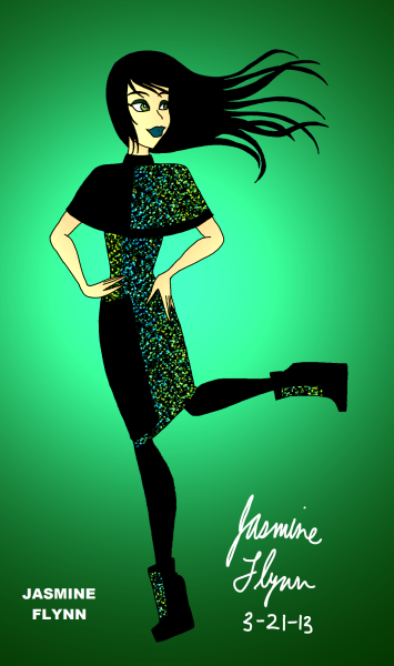 Green Gemstone Outfit a digital drawing by me, Jasmine Flynn :)