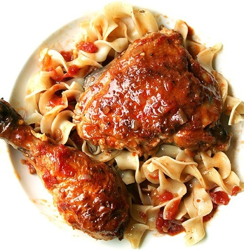 Guest Recipe: Braised Chicken with Sherry Vinegar  We found this recipe by Alexandra Stafford at Alexandra's Kitchen, and were impressed by it on many levels: for one, it just looks absolutely delicious — vinegar is an excellent braising liquid for meats. It also makes great use of pantry ingredients, which is handy if you don't feel like shopping. And finally, she's included a tutorial for breaking down chickens — see it here if you need a primer.  Serve it with noodles or rice or boiled potatoes, or just bread: anything that will serve as a sauce vehicle. Enjoy!