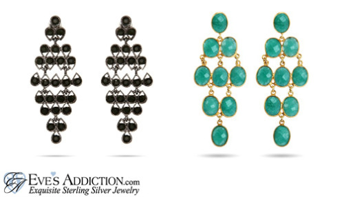 Whether you like theClassic Onyx CZ or theGold and Emerald Green QuartzThese chandelier earrings will make ANY outfit - day or night!