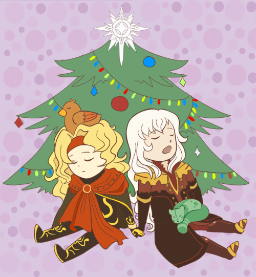 For Xmas, I'd love to see Dhaos and Duke hanging out under a tree, *Maybe with Duke's animal friends~*   are they a popular ship in japan or something??? i've run into at least three pics of them together while looking for dhaos references (btw his spandex outfit is…weird…)