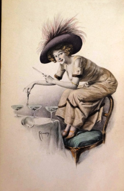 A charming Belle Epoque postcard…until you notice that the glasses have faces in them, and she's about to tackle them with a knife and fork. Edwardian era, what are you even?
