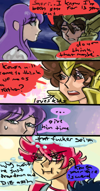 "Saint Seiya Omega, otherwise known as ""The Continuing Adventures of Kouga's Ginormous Mother Complex"", continuing the proud tradition of main characters having big huge complexes over a member of their family *COUGH*Seiya*COUGH*Shun*COUGH*Hyoga"