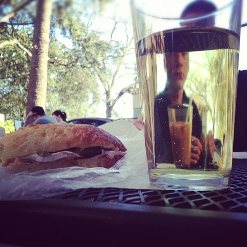 Ham sammy, pumpkin cider with my babe @charlievelours  (at Bold Bean Coffee)