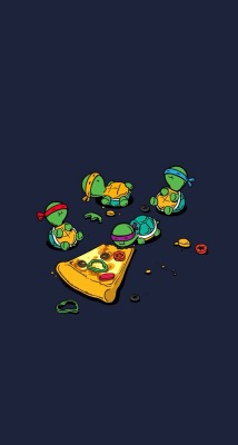 red cute happy cartoon orange blue purple pizza teenage mutant ninja turtles turtle baby turtle Turtlepower