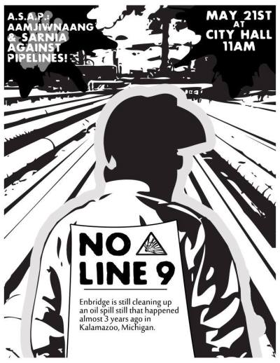 "Idle No More against the Tar Sands and Line 9 Reversal in Sarnia, ON! Rally and water ceremony beginning at 11 a.m at Sarnia City Hall (255 Christina St N) March will end at the Best Western Guildwood Inn (1400 Venetian Blvd) @ ""Bitumen: Canada's National Disaster"" Day of Action on Tuesday, May 21"
