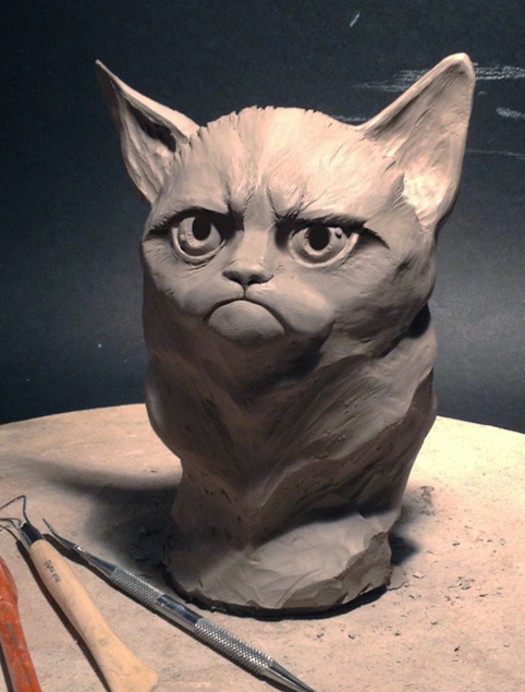 archiemcphee:  Australian artist Chris Calver sculpted this incredibly awesome bust of Tard the Grumpy Cat and titled it Grumpy Portrait.
