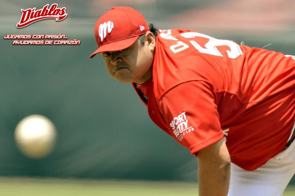 Dennys Reyes, currently pitching for Diablos Rojos del México. Owner of a face. (Source)
