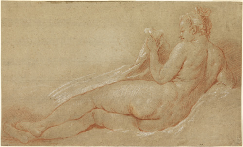 "centuriespast:  Made by François Boucher Drawing, ""Study for Reclining Nude"", ca. 1750 National Design Museum"