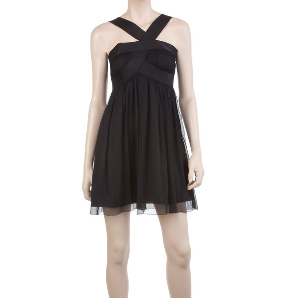 SILK CHIFFON COCKTAIL DRESS-L-BLACK   (see more cocktail black dresses)
