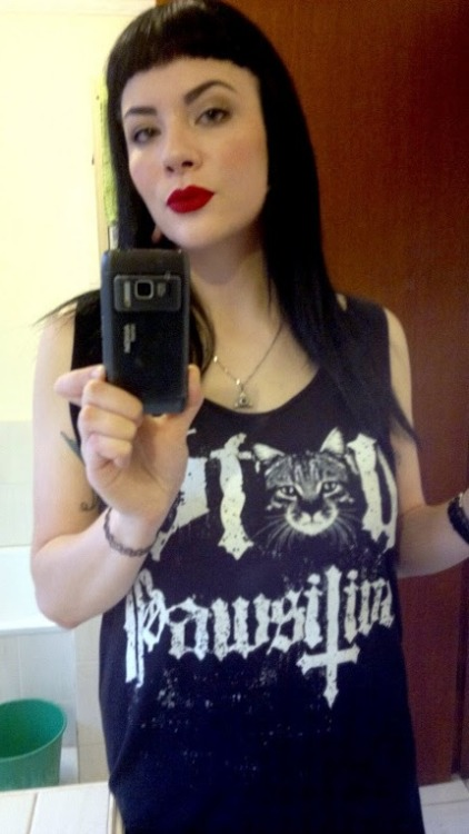 New Blackcraft Cult shirt and Lime Crime's Red Velvet Velvetines…..seriously this lipstick/stain is fucking amazing!!