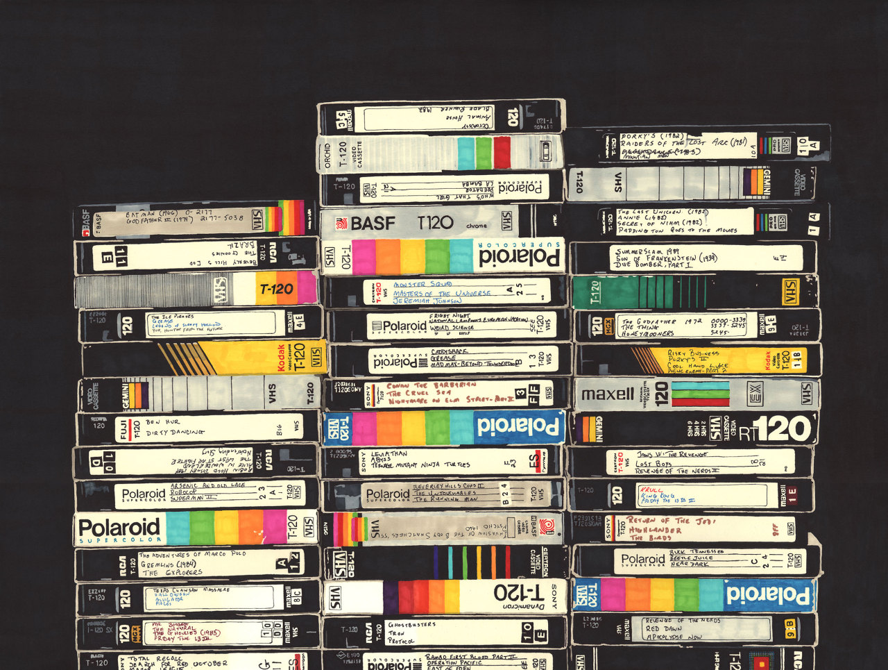 VHS (permanent marker on paper / 2010) - Hollis Brown Thornton
