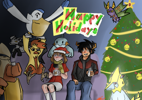 "December 24th: ""A holiday Scene""      Happy holidays from Kaji's sapphire nuzlocke team. (Ahhh this took me forever to finish, but it's finally done.) (Do you guys remember when these characters used to be in a comic I once worked on?)"