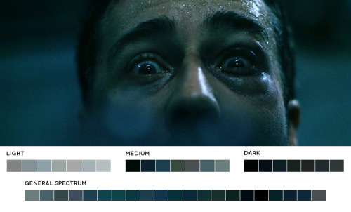 "Love ""Movies In Color"". Tumblr featuring movie stills & their color palettes.Fight Club, 1999Cinematography: Jeff Cronenweth (via)"