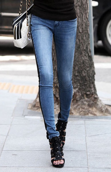Modern Style Color Block Splice Stretchy Denim Pencil Pants