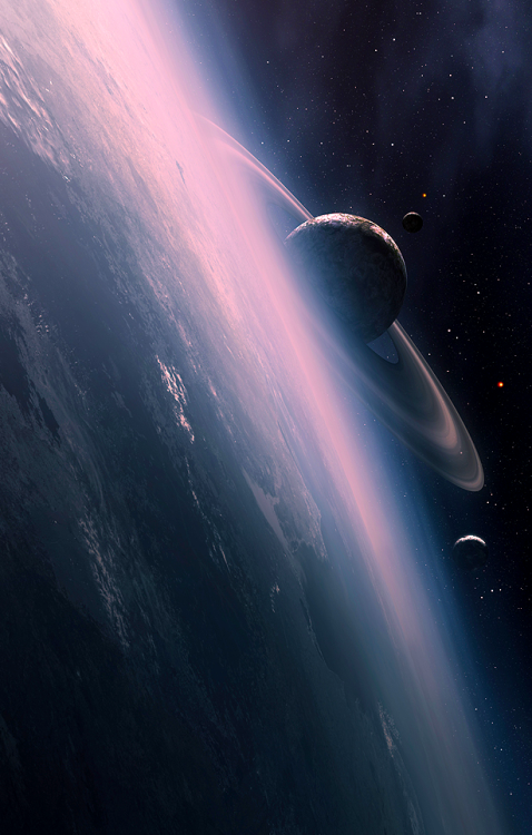 stellar-indulgence: Space Fantasy Worlds by *QAuZ Sunrise Outside World You Gotta Love Space Beauty of Space