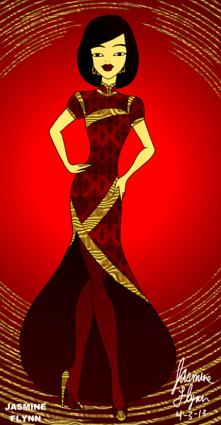 Long Cheongsam Gown. a digital drawing by me, Jasmine Flynn :)